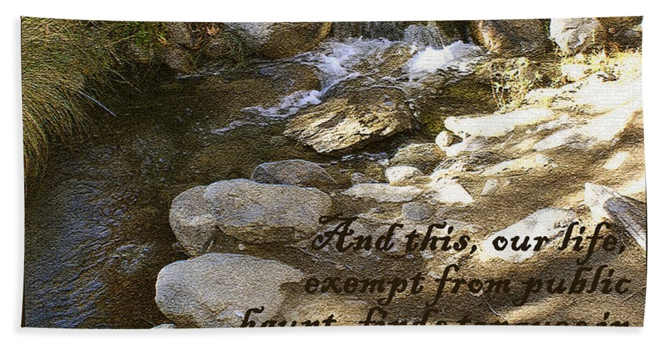 Babbling Brook William Shakespeare Quote Bath Sheet featuring the digital art Babbling Brook William Shakespeare Quote by Barbara Snyder