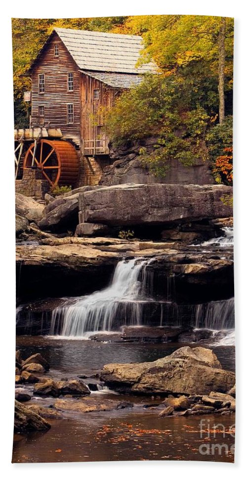 Fall Bath Sheet featuring the photograph Babcock Grist Mill And Falls by Jerry Fornarotto