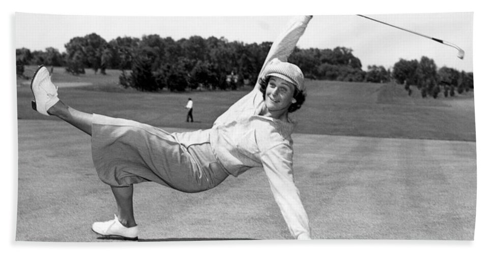 1 Person Bath Sheet featuring the photograph Babe Didrikson Zaharias by Underwood Archives