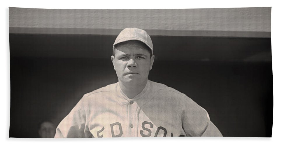 Babe Ruth Bath Sheet featuring the photograph Babe Ruth With The Sox by Mountain Dreams