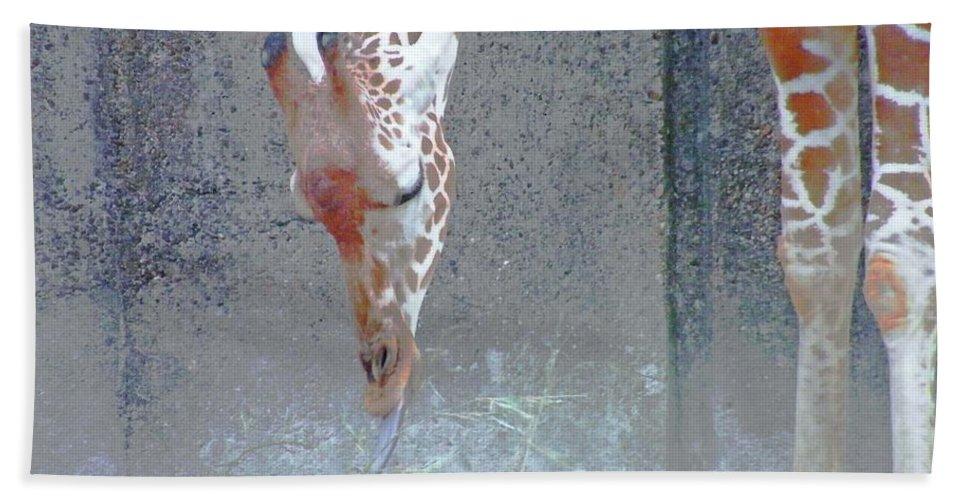 Giraffe Bath Sheet featuring the digital art Baby Giraffe by Lizi Beard-Ward