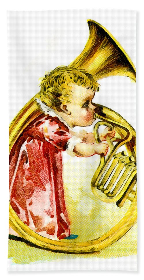 Vintage Trading Cards Hand Towel featuring the digital art Baby Girl With A French Horn by Vintage Trading Cards