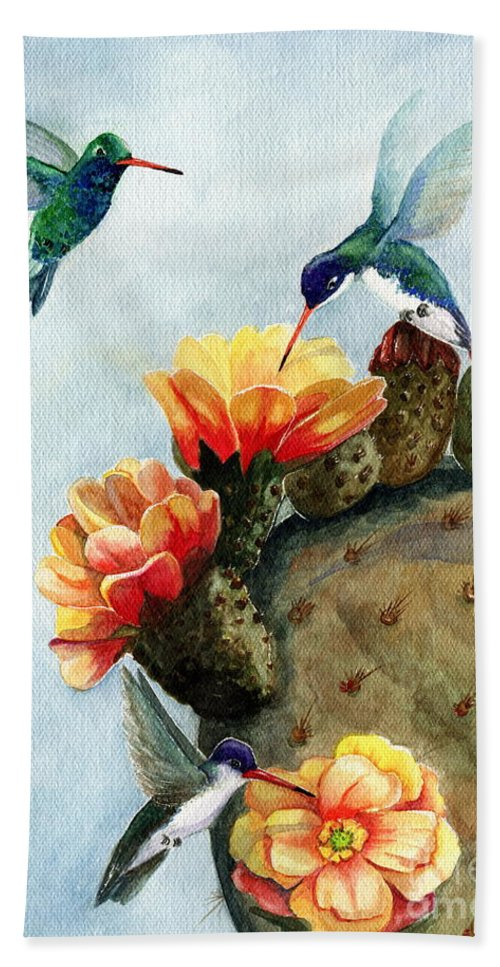Hummingbirds Bath Sheet featuring the painting Baby Makes Three by Marilyn Smith