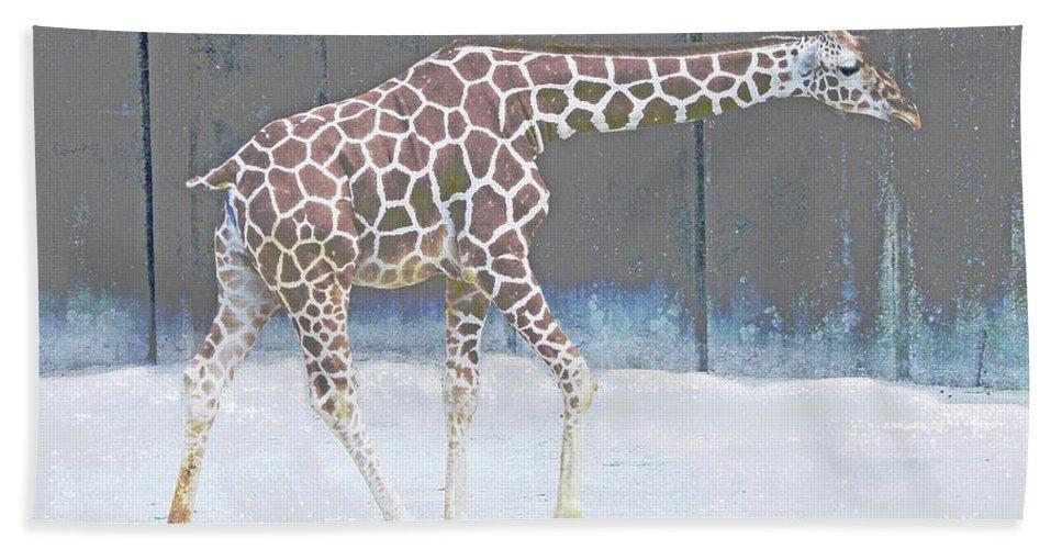 Giraffe Bath Sheet featuring the photograph Baby Walk by Lizi Beard-Ward