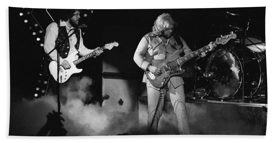 Bachman-turner Overdrive Bath Sheet featuring the photograph Bachman-turner Overdrive Smokin In Spokane 1976 by Ben Upham