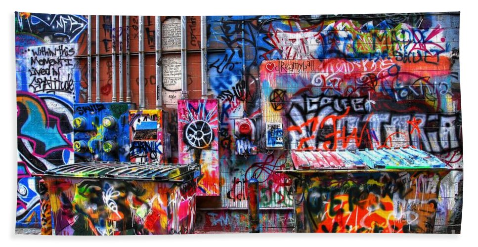Graffiti Bath Sheet featuring the photograph Back Alley Canvas by Anthony Wilkening