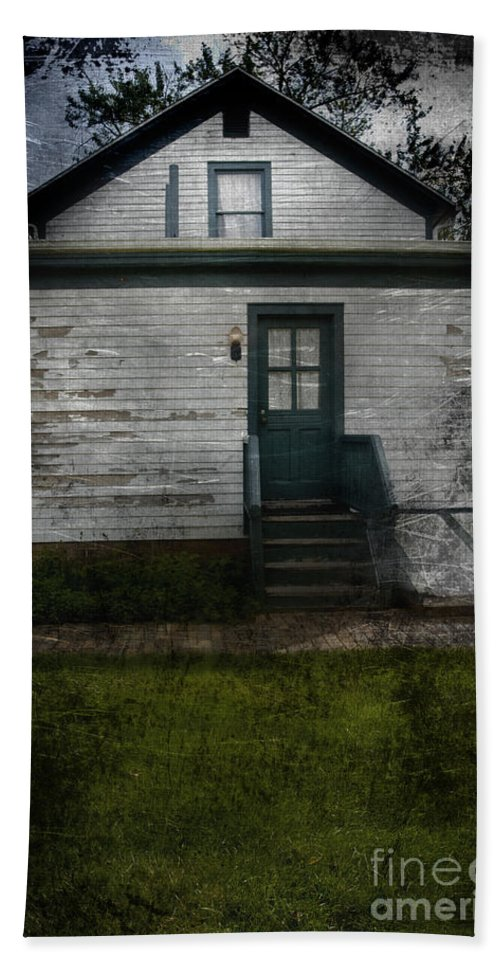 Abandoned; Home; House; Old; Farmhouse; Spooky; Peeling Paint; Derelict; Neglected; Sidewalk; Creepy; Dark; Entrance; Stairs; Door; Haunted; Porch; Eerie; Scary; Ruin; Mood; Gloomy; Rural Hand Towel featuring the photograph Back Door by Margie Hurwich