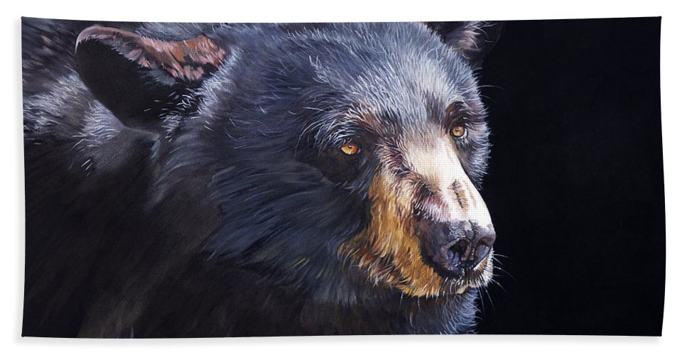 Black Bear Hand Towel featuring the painting Back In Black Bear by J W Baker