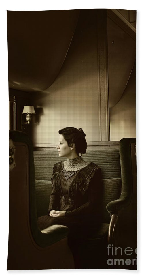 Caucasian; Woman; Female; Lady; Wife; Young; Train; Transport; Transportation; Interior; Inside; Pullman; Car; Seat; Luxury; Window; Travel; Traveling; Vacation; Looking; Side; Profile; 1800s; Railway; Vintage; Edwardian Hand Towel featuring the photograph Back In Time by Margie Hurwich