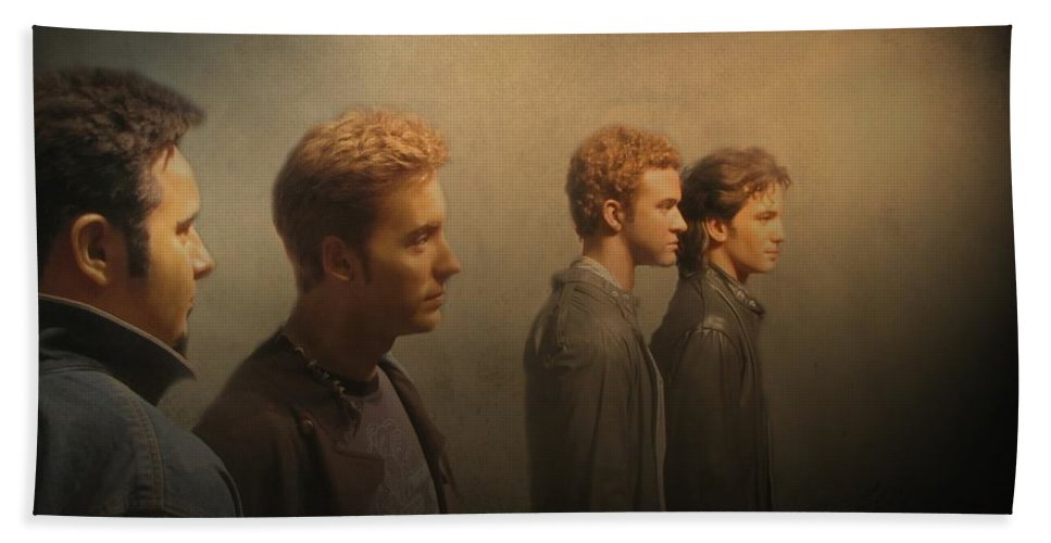 Nsync Bath Towel featuring the photograph Back Stage With Nsync by David Dehner