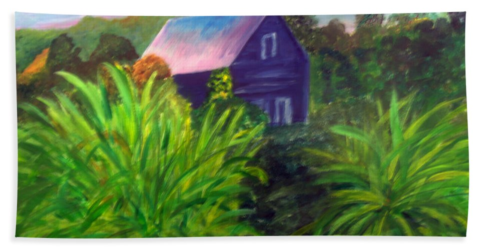 Beauty Hand Towel featuring the painting Back Yard Of Parker Pie In West Glover Vt by Donna Walsh