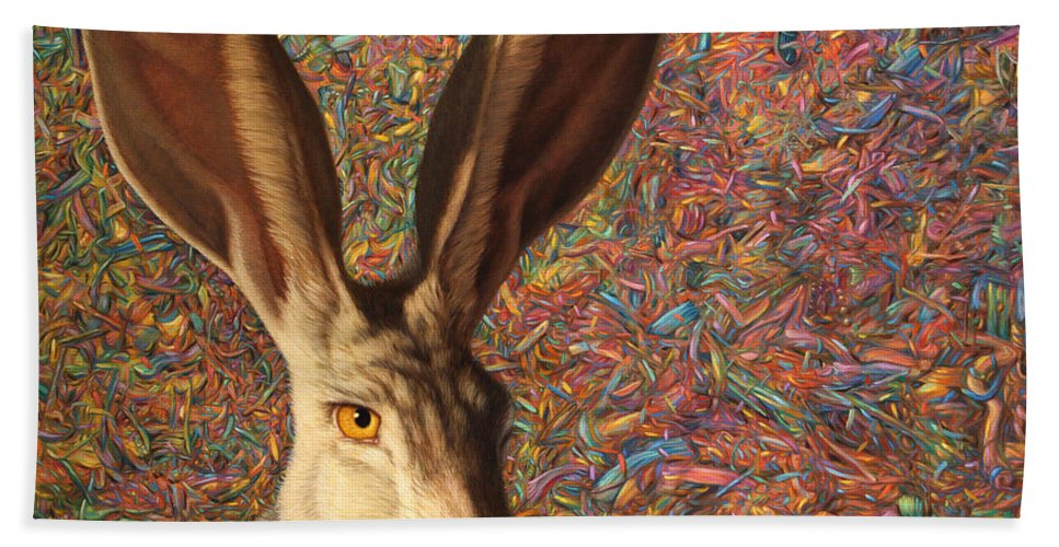 Rabbit Hand Towel featuring the painting Background Noise by James W Johnson