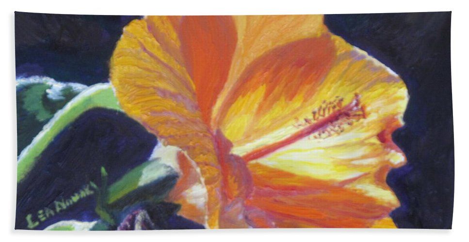 Flower Bath Sheet featuring the painting Backlit Hibiscus by Lea Novak