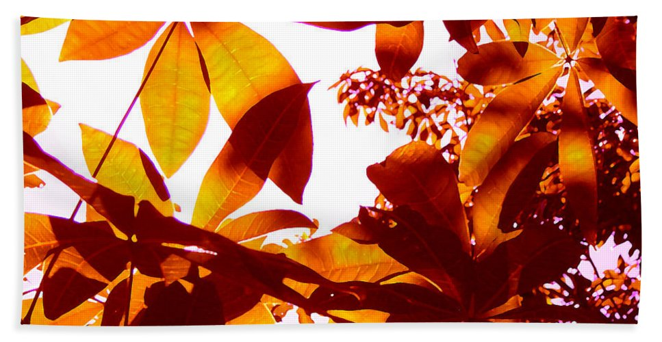 Garden Hand Towel featuring the painting Backlit Tree Leaves 2 by Amy Vangsgard