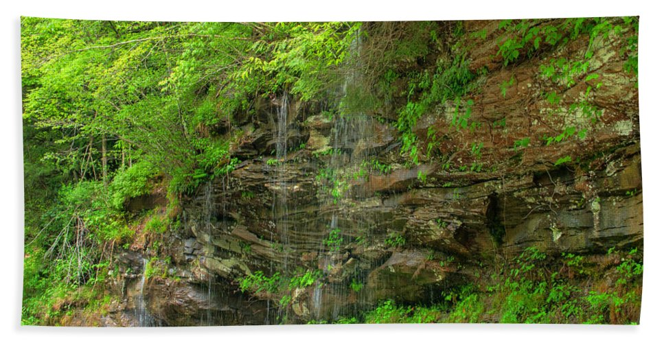Feature Art Bath Towel featuring the photograph Backroads Waterfall In West Virginia by Paulette B Wright