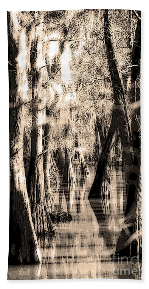 Backwater Hand Towel featuring the photograph Backwater Cajun Country by Mike Nellums