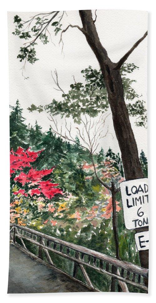 Watercolor Hand Towel featuring the painting Backwoods Bridge by Brenda Owen
