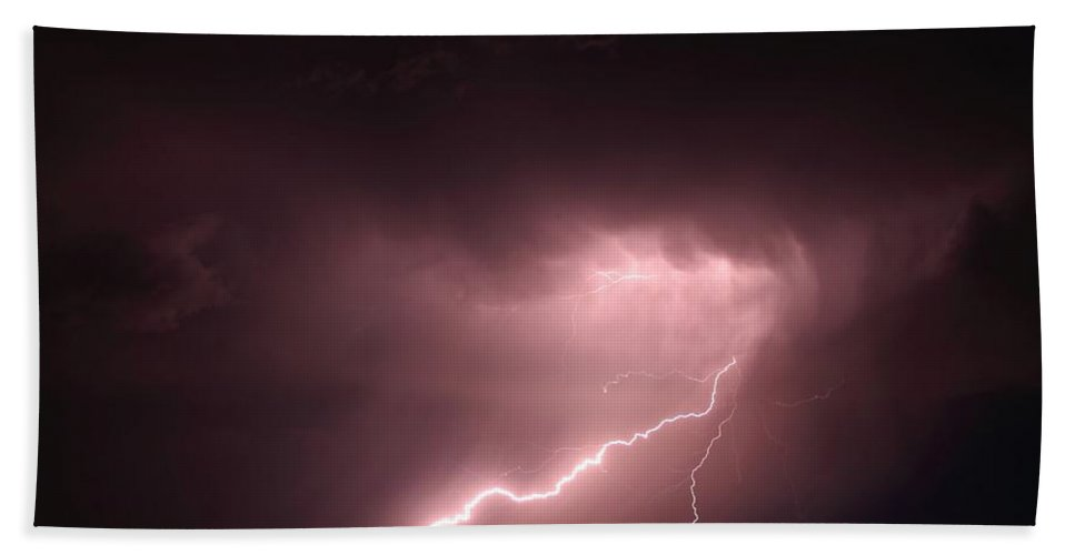 Lightning Hand Towel featuring the photograph Backyard Bolt 2 by Marcelo Albuquerque