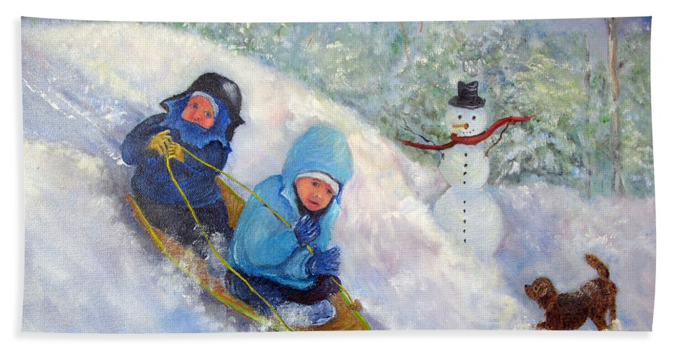 Snow Hand Towel featuring the painting Backyard Winter Olympics by Loretta Luglio