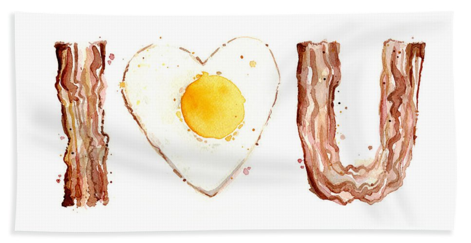 Bacon Hand Towel featuring the painting Bacon And Egg Love by Olga Shvartsur