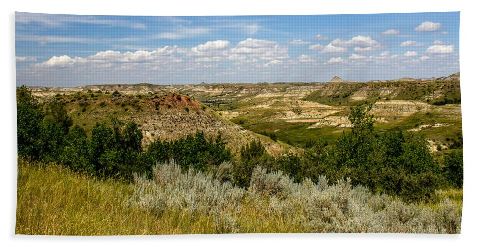 Badlands Hand Towel featuring the photograph Badlands 19 by Chad Rowe