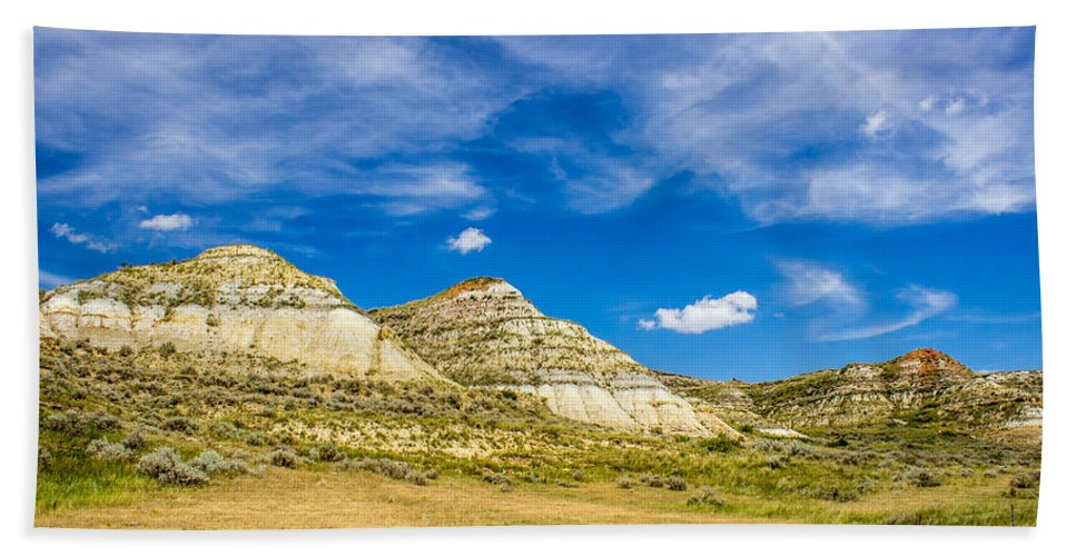 Badlands Hand Towel featuring the photograph Badlands 35 by Chad Rowe