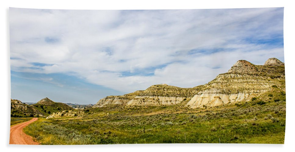 Badlands Hand Towel featuring the photograph Badlands 38 by Chad Rowe