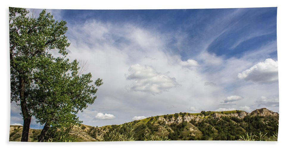 Badlands Hand Towel featuring the photograph Badlands 54 by Chad Rowe