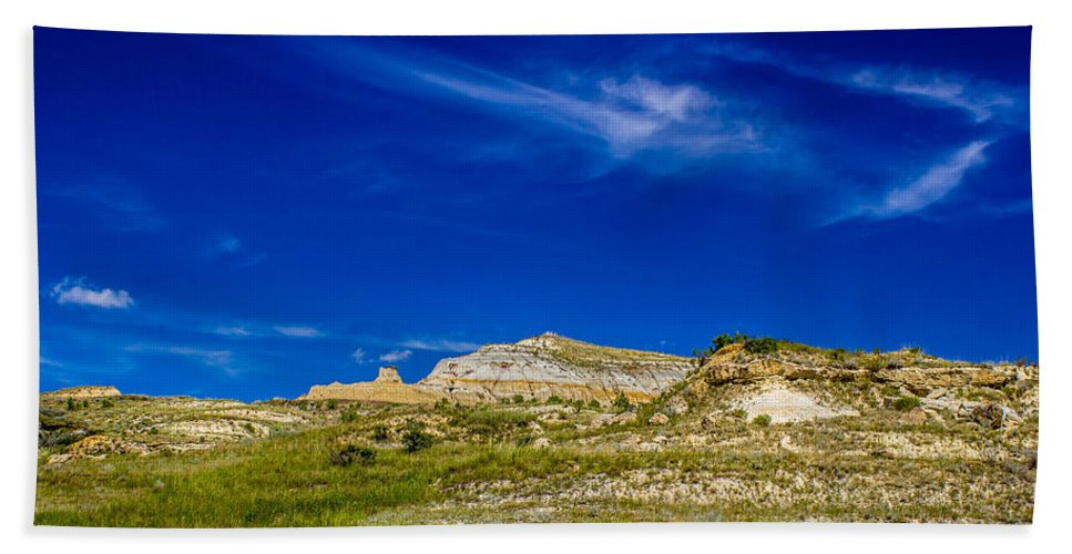 Badlands Hand Towel featuring the photograph Badlands 7 by Chad Rowe