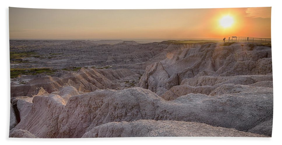 3scape Hand Towel featuring the photograph Badlands Overlook Sunset by Adam Romanowicz