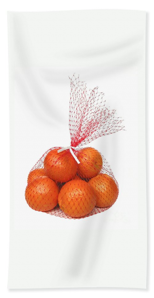 Oranges Bath Sheet featuring the photograph Bag Of Oranges by Ann Horn