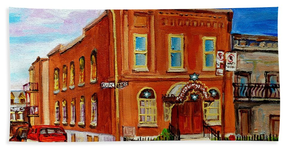 Montreal Bath Sheet featuring the painting Bagg And Clark Street Synagogue by Carole Spandau
