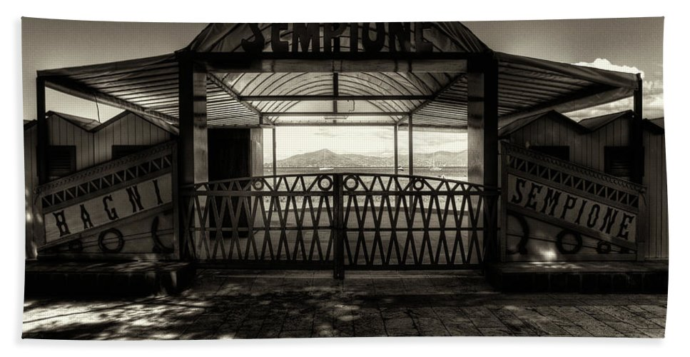 B&w Bath Sheet featuring the photograph Bagni Sempione by Roberto Pagani