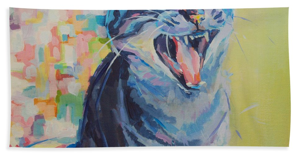 Mona Lisa Hand Towel featuring the painting Bah Humbug by Kimberly Santini