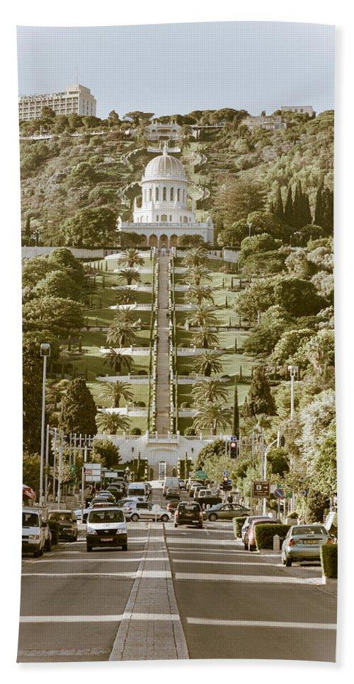 Haifa Hand Towel featuring the photograph Bahai Gardens by Alexey Stiop