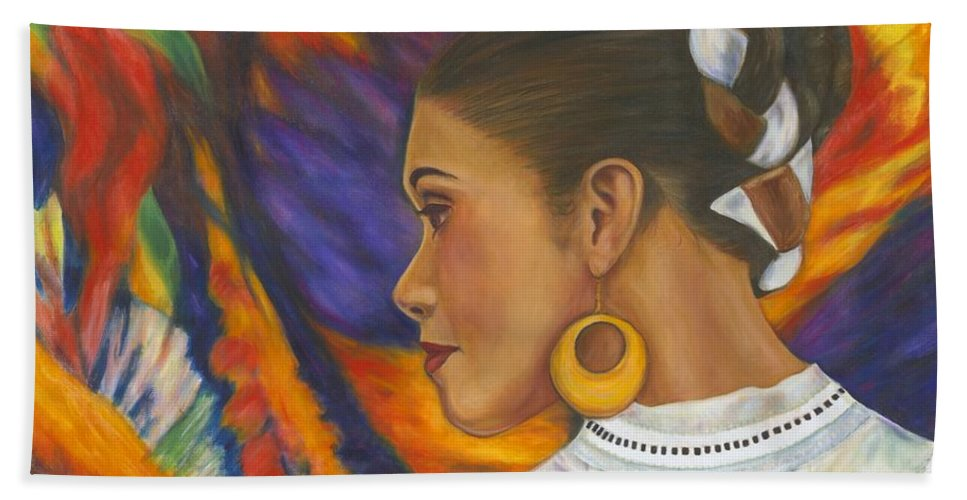 Mexican Bath Sheet featuring the painting Baile Con Colores by Pat Haley