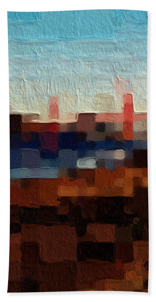 Abstract Art Bath Towel featuring the painting Baker Beach by Linda Woods