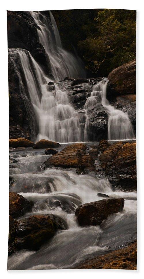 Lanscape Bath Sheet featuring the photograph Bakers Fall. Horton Plains National Park. Sri Lanka by Jenny Rainbow