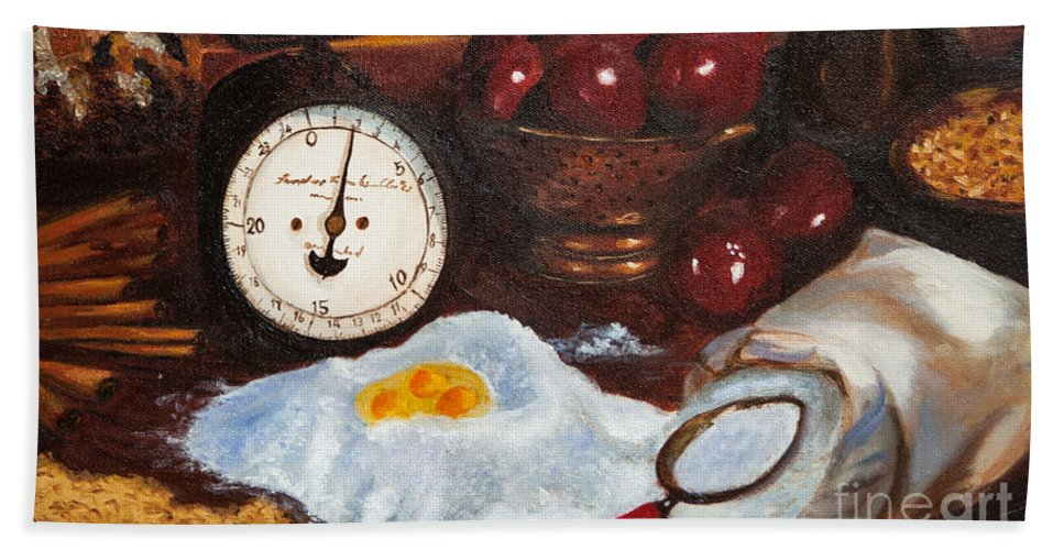 Baking Apple Pie Bath Sheet featuring the painting Baking From Scratch by Iris Richardson
