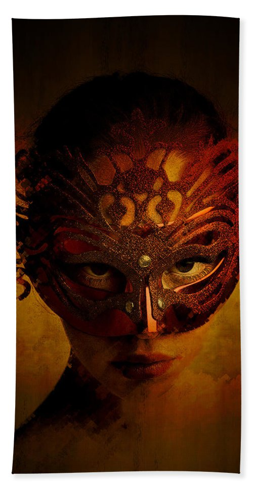 Mask Bath Sheet featuring the digital art Bal Masque by Galen Valle