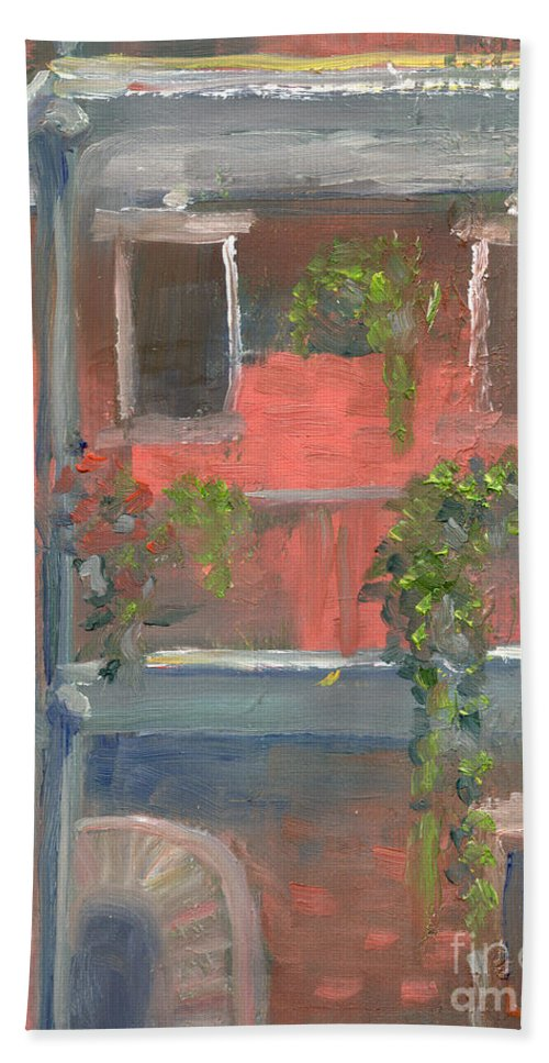 New Orleans Hand Towel featuring the painting Balcony I by Lilibeth Andre