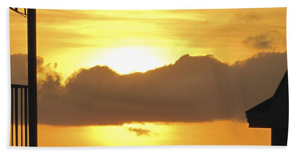 Sunset Hand Towel featuring the photograph Key West Balcony Sunset by Bob Slitzan
