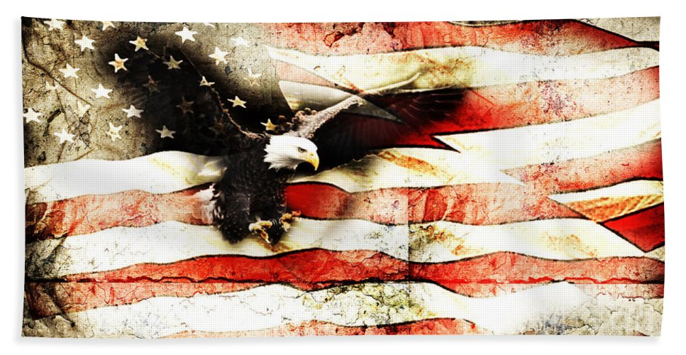 Memorial Day Bath Sheet featuring the photograph Bald Eagle Bursting Thru Flag by Eleanor Abramson