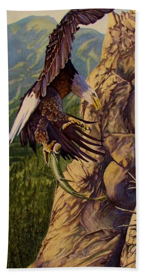 Eagle Hand Towel featuring the painting Bald Eagle by Greg and Linda Halom