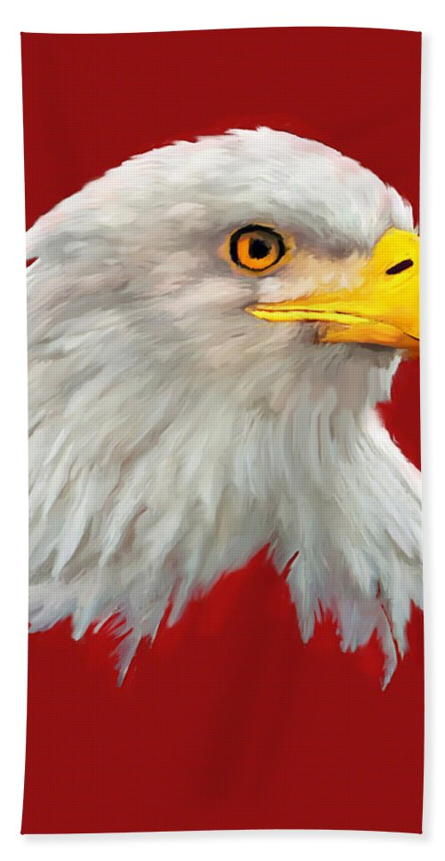 Acrylic Painting Bath Sheet featuring the painting Bald Eagle Painting by Bob and Nadine Johnston