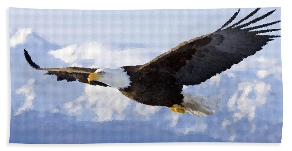 Bald Eagle Hand Towel featuring the painting Bald Eagle by Samuel Majcen