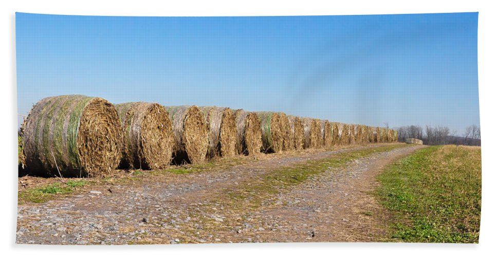 Bales Hand Towel featuring the photograph Bales Of Hay On An Old Farm Road by Bill Cannon