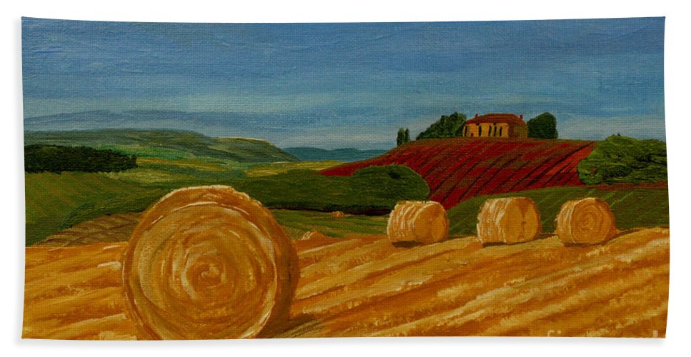 Hay Hand Towel featuring the painting Field Of Golden Hay by Anthony Dunphy