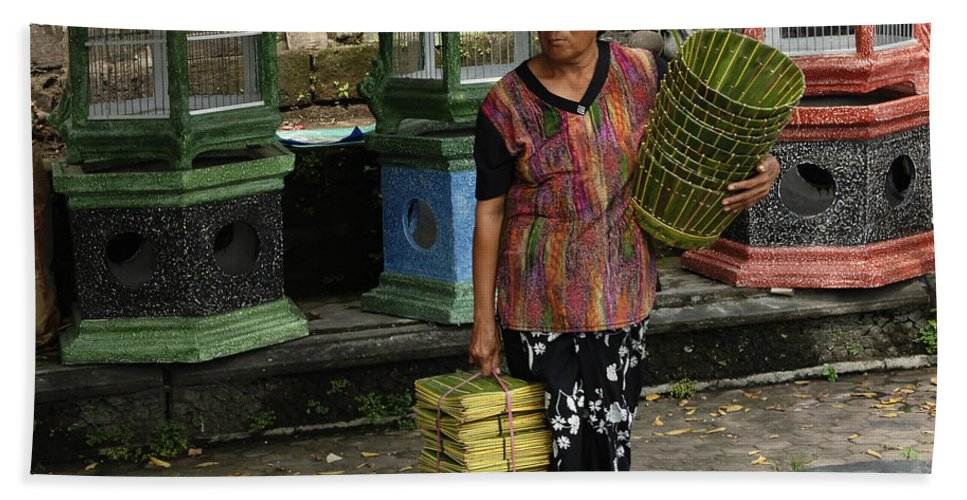 Bali Bath Sheet featuring the photograph Bali Indonesia Proud People 1 by Bob Christopher