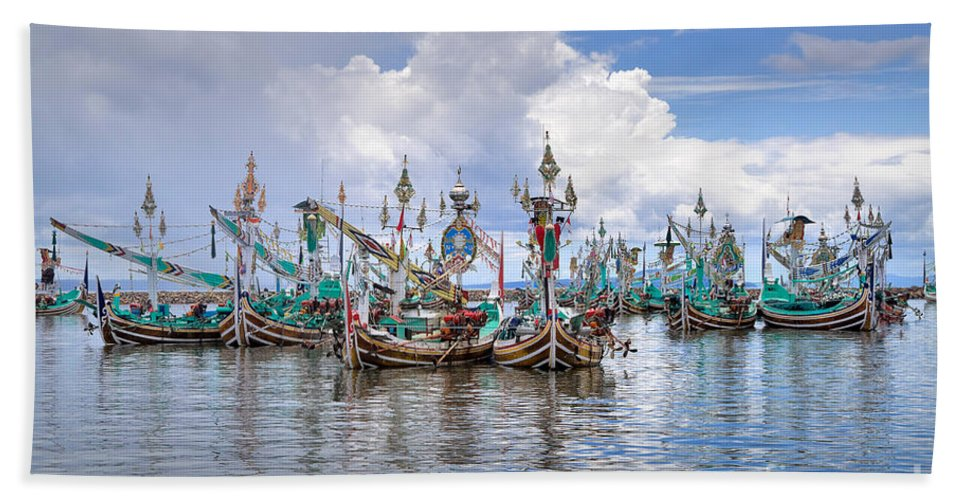 Travel Hand Towel featuring the photograph Balinese Fishing Boats by Louise Heusinkveld